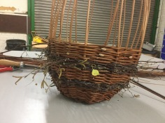 Birch twigs in willow basket