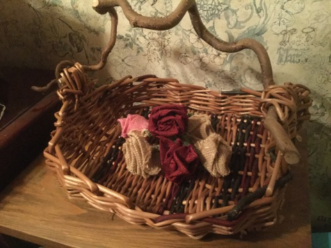 Cornus and willow bread basket with corkscrew hazel handle